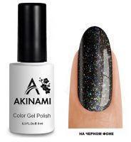 Топ для гель-лака AKINAMI Glitter Top №3, 9мл. (прозрачный с зелеными и золотистыми блестками)