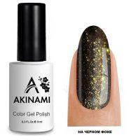 Топ для гель-лака AKINAMI Glitter Top №6, 9мл. (прозрачный с золотистыми блестками)