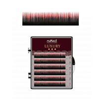 Ресницы для наращивания Luxury, Ø 0,1 мм, Mix C, (№10,12,14), цвет: черно-красный, 6 линий Runail Professional
