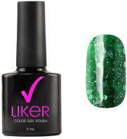 Гель-лак LIKER №4650 Runail professional 9 мл. (насыщенный зеленый с разноразмерными блестками)