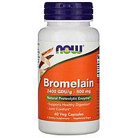 Now Foods, Бромелаин, 500 мг, 60 растительных капсул