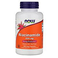 Now Foods, Ниацинамид 500 мг, 100 растительных капсул