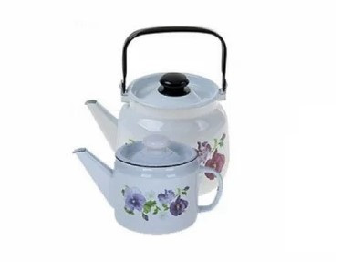 """Набор эмалированных чайников """"Анютины глазки"""""""