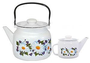 """Набор эмалированных чайников """"Ромашковое поле"""""""