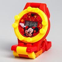 Часы наручные лего, Микки Маус, с ремешком-конструктором