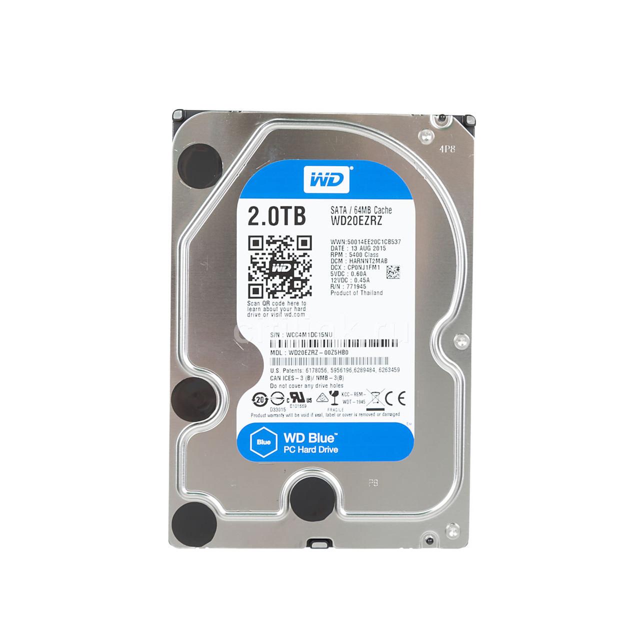 Жесткий диск внутренний Western Digital (WD) Blue (2Тб (2000Гб), HDD, 3,5″, Для компьютеров, SATA) WD20EZRZ
