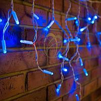 """Уличная световая гирлянда """"Бахрома"""" (""""Айсикл"""") - 1,8 х 0,5 метра, 48 лампочек, синий цвет, светит постоянно"""