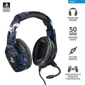 Наушники-гарнитура игровая Trust GXT 488 Forze-B PS4 синий/серый