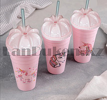 Стаканчик пластиковый с крышкой и трубочкой Сказочный пони в ассортименте розовый
