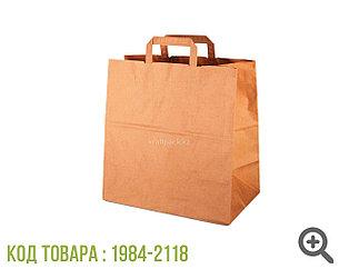 Бумажный крафт пакет, бурый с ПЛОСКОЙ ручкой 80гр 320*200*320 (300шт/кор)
