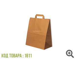 Бумажный крафт пакет, бурый с ПЛОСКОЙ ручкой 70гр 240*140*280 (350шт/уп)