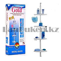 Угловая полка для ванной комнаты пластиковые трубки с регулируемой высотой Prima gold белая