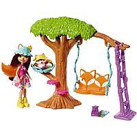 Энчантималс набор игровой Кукла со зверюшкой Лиса Фелисити на качелях Enchantimals FRH45