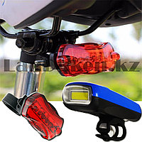 Набор велосипедный на батарейках передний и задний фонари Ledbicycle lights Kiakuo синий