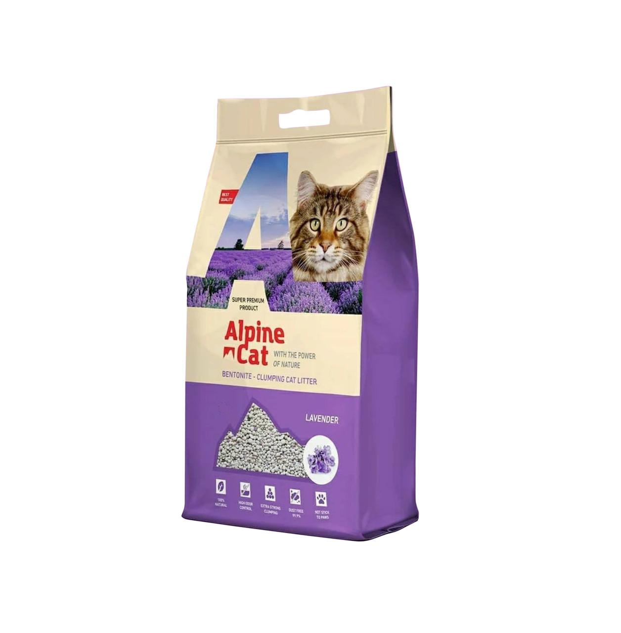 С ароматом лаванды, 10л., наполнитель бентонитовый комкующийся Alpine Cat
