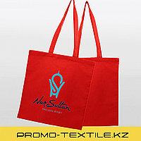 Сумка шоппер с принтом | Красная экосумка под нанесение логотипа