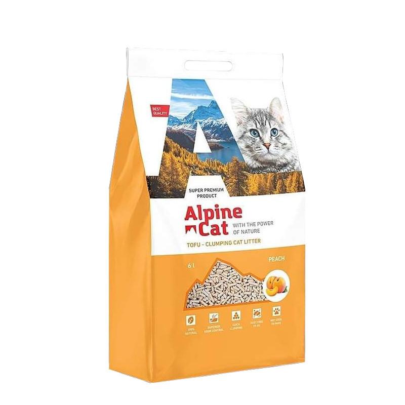 С ароматом персика, 6л., тофу комкующийся соевый наполнитель Alpine Cat