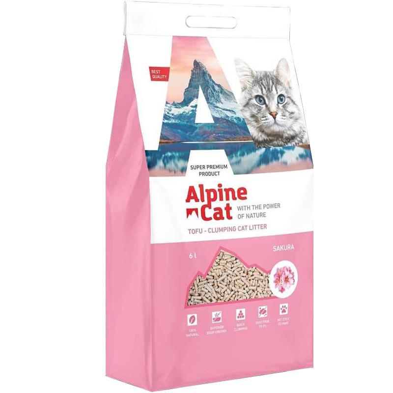 С ароматом сакуры, 6л., тофу комкующийся соевый наполнитель Alpine Cat