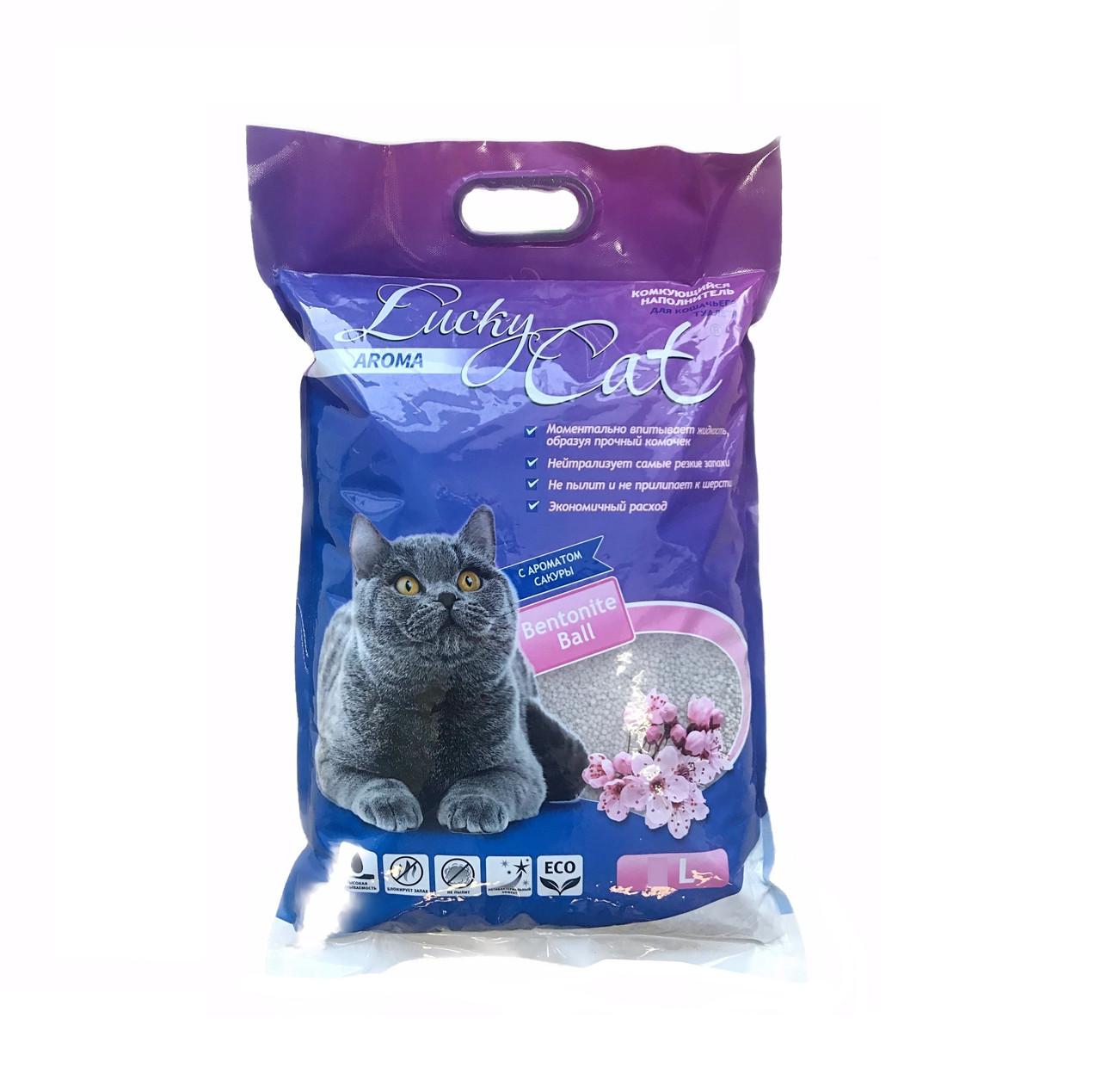 С ароматом сакуры, 10л., комкующийся бентонитовый наполнитель Lucky Cat