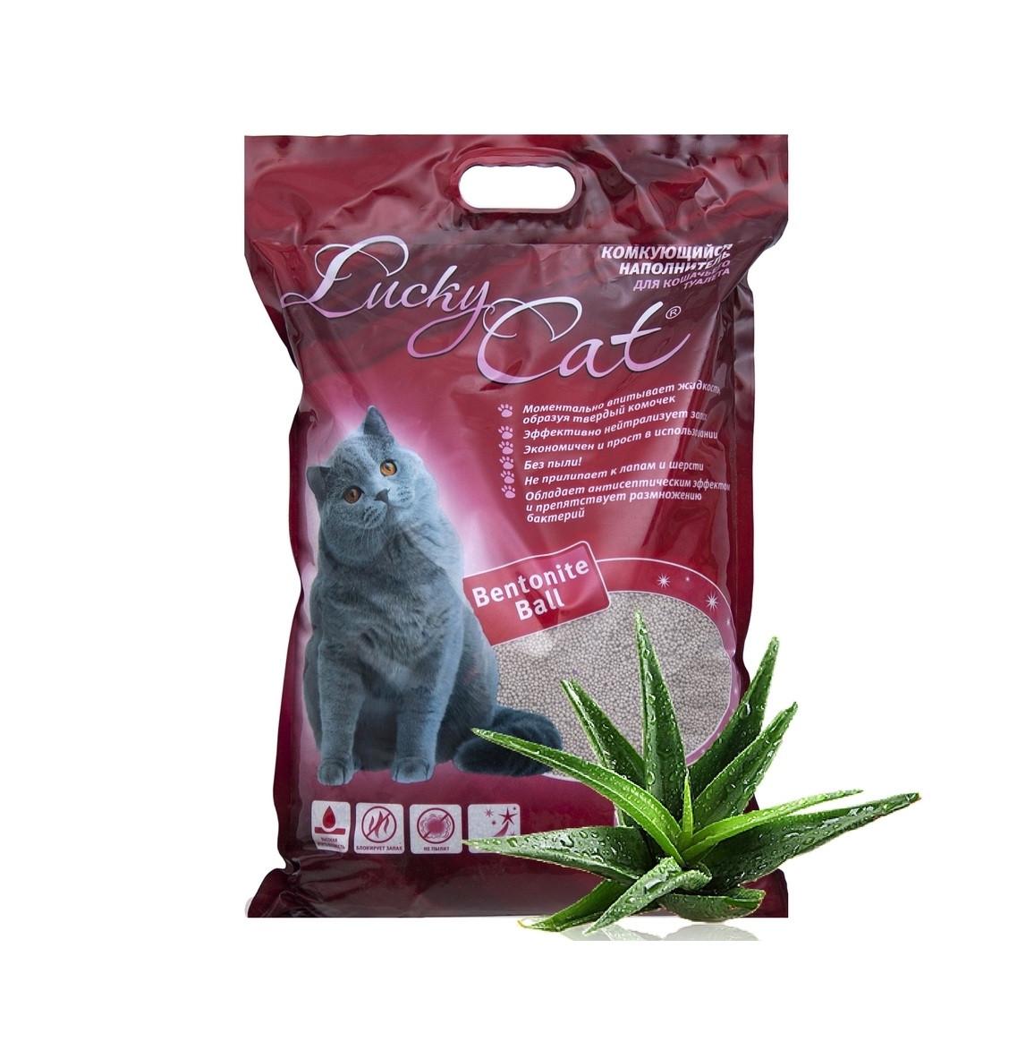 С ароматом алое веры, 10л., комкующийся бентонитовый наполнитель Lucky Cat