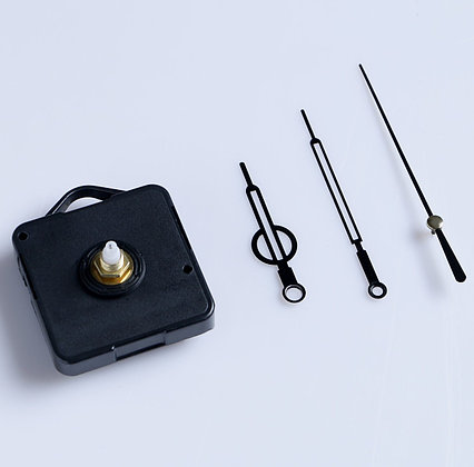 Набор, часовой механизм 3268 с подвесом, комплект стрелок двойных, черный 11х18см