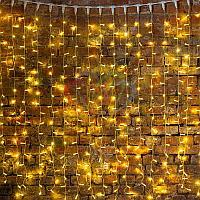 """Гирлянда """"Светодиодный Дождь"""" - 2х1,5 метра, 360 лампочек, золотой цвет, светит постоянно"""