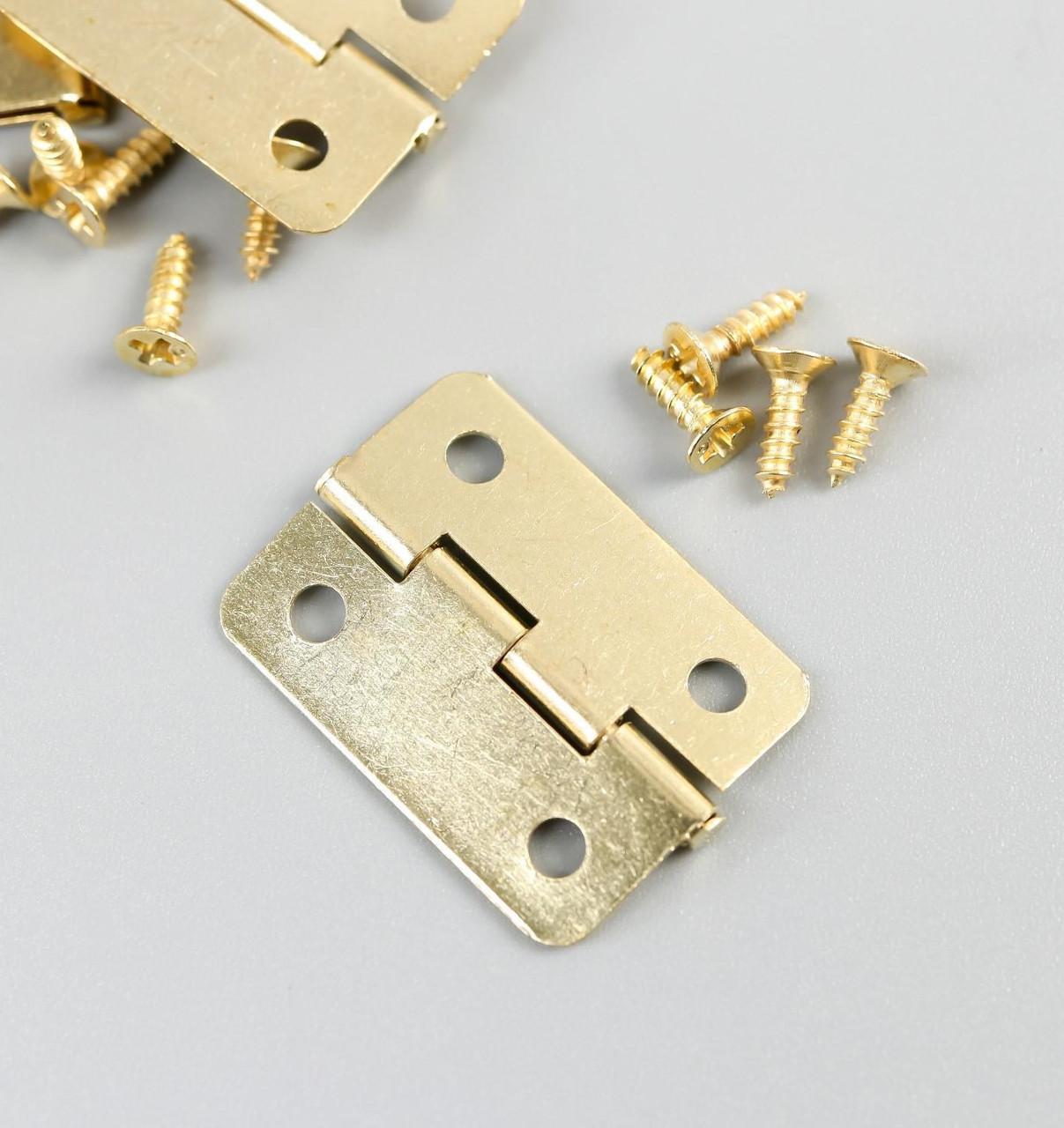 Петля для шкатулки металл с закругленными углами золото набор 4 шт 2,5х2,2 см