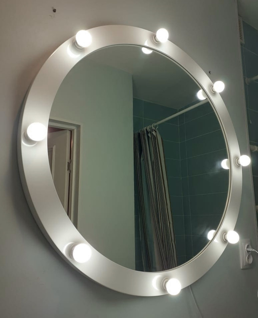 Круглое гримерное зеркало в деревянной раме (МДФ) Allegro