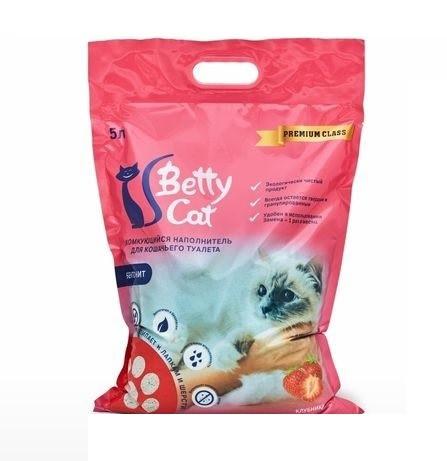 С ароматом клубники, 5л., комкующийся бентонитовый наполнитель Betty Cat