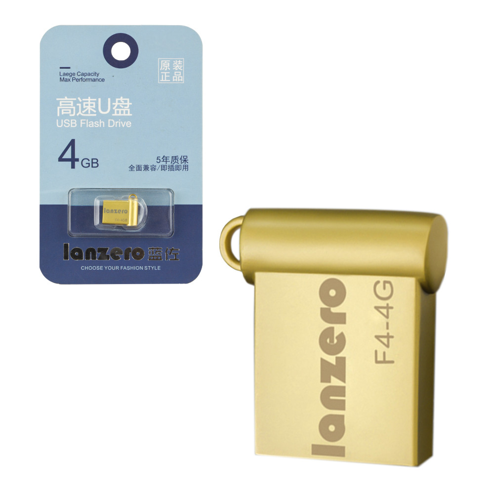 USB Flash 4Gb Lanzero mini F4, Gold