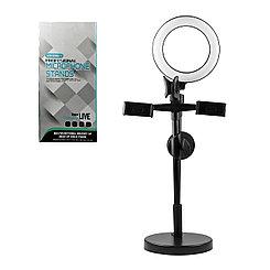 Кольцевая светодиодная лампа со штативом крепление для двух телефонов + микрофон Led ZB002, Black