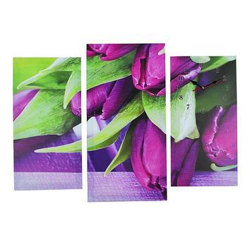 Часы настенные модульные «Фиолетовые тюльпаны», 60 × 80 см