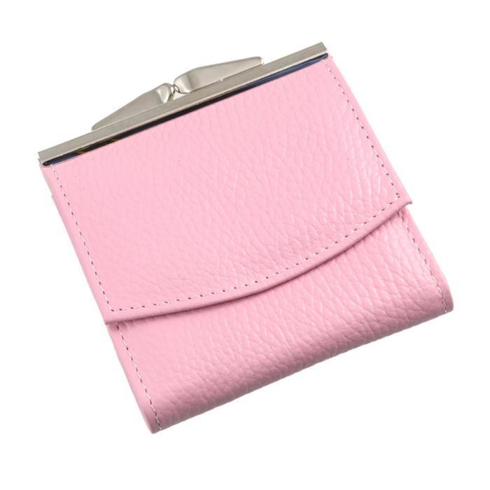 Кошелёк женский на кнопке раскладной,1 отдел для купюр, для монет, для кредитных карт, цвет розовый