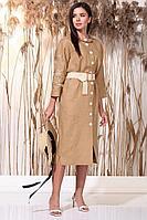 Женское летнее льняное коричневое нарядное платье Faufilure С1162 кэмел 48р.