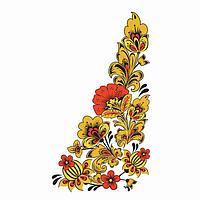 """Термонаклейка уголок """"Хохлома цветы"""", слева 15*30 см, набор 10 штук"""