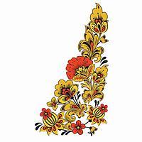 """Термонаклейка уголок """"Хохлома цветы"""", слева 20*35 см, набор 10 штук"""