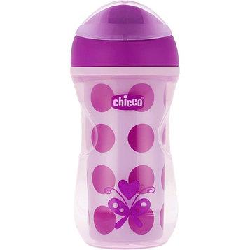 Чашка-поильник Chicco Active Cup, от 14 месяцев, цвет сиреневый, рисунок МИКС, 266 мл