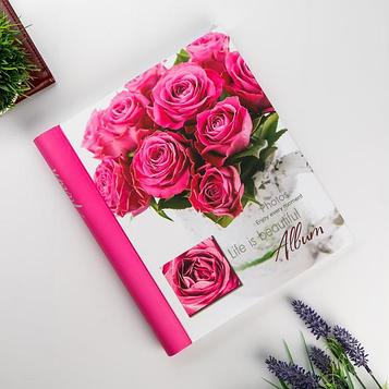 """Фотоальбом магнитный 23Х28 см 20 листов """"Розовые розы"""""""