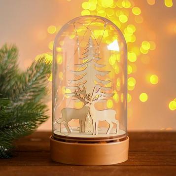 Настольный декор с подсветкой «Олени и ёлка» 19х10х10 см
