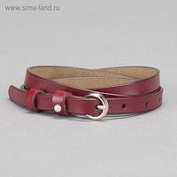 Ремень женский, гладкий, пряжка золото, ширина - 1 см, цвет бордовый