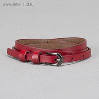 Ремень женский, гладкий, пряжка чёрный металл, ширина - 1 см, цвет красный