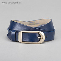 Ремень женский, гладкий, пряжка золото, ширина - 2,6 см, цвет синий