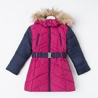 Пальто утеплённое для девочки, цвет малиновый/синий, рост 104-110 см (110)