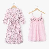 Комплект для беременных и кормящих (сорочка, халат) цвет розовый, принт МИКС, размер 54