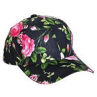 Бейсболка женская, цвет чёрный/розовый/цветы, размер 56-58