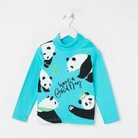 Водолазка для мальчика, цвет бирюзовый/панды, рост 92 см