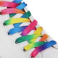 Шнурки для обуви, пара, плоские, 8 мм, 110 см, цвет 'радужный'
