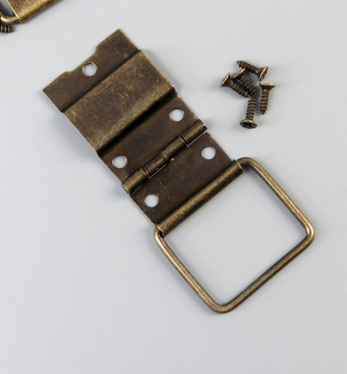 Петля накладная с упором угол открывания 90 градусов + гвозд. бронза набор 5 шт 4,8х2,4 см