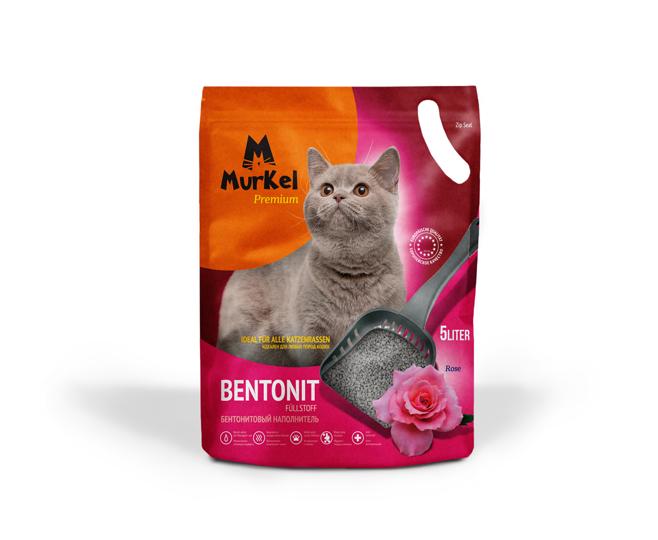 С ароматом розы, 5л., комкующийся бентонитовый наполнитель Murkel