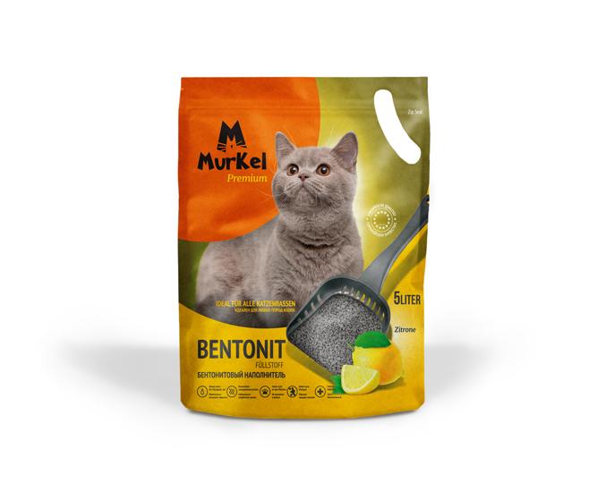 С ароматом лимона, 5л., комкующийся бентонитовый наполнитель Murkel
